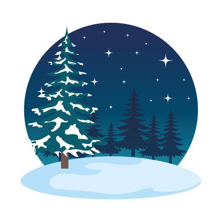 night snowscape field scene vector illustration design