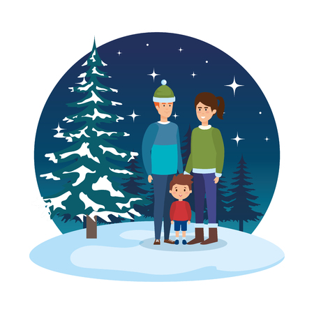 couple and son with winter clothes in snowscape vector illustration Standard-Bild - 127638607