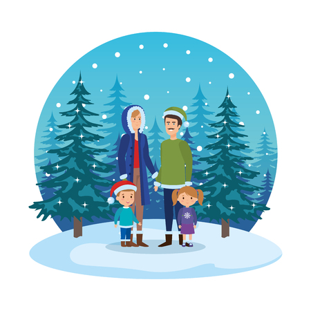 couple with kids and winter clothes in snowscape vector illustration Standard-Bild - 127638612
