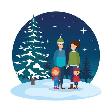 couple with kids and winter clothes in snowscape vector illustration Standard-Bild - 127638613