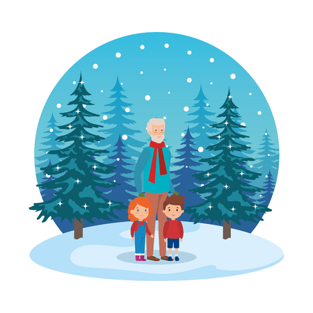 grandfather and kids in snowscape vector illustration design Standard-Bild - 112160890