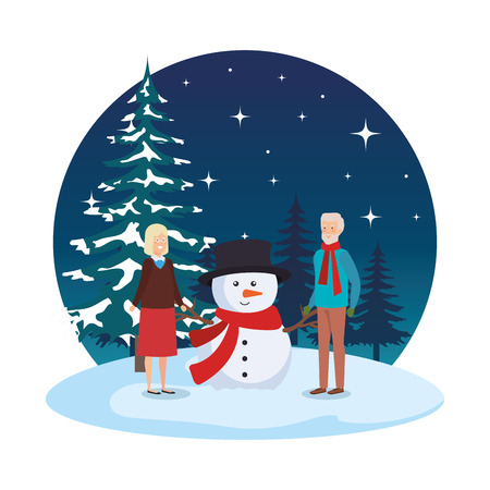 grandparents couple with snowman in snowscape vector illustration Illustration