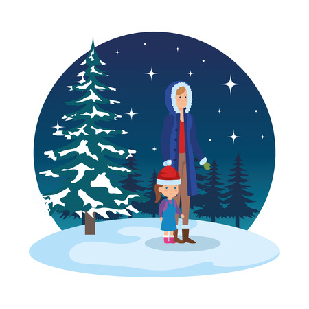 mother and daughter with winter clothes in snowscape vector illustration Standard-Bild - 127638624