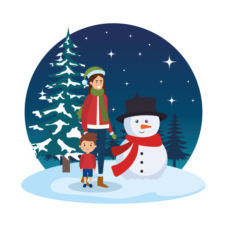 mother and son with christmas clothes in snowscape vector illustration Standard-Bild - 127638633