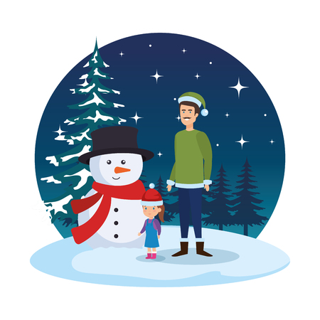 father and daughter with christmas clothes in snowscape vector design Standard-Bild - 127638634