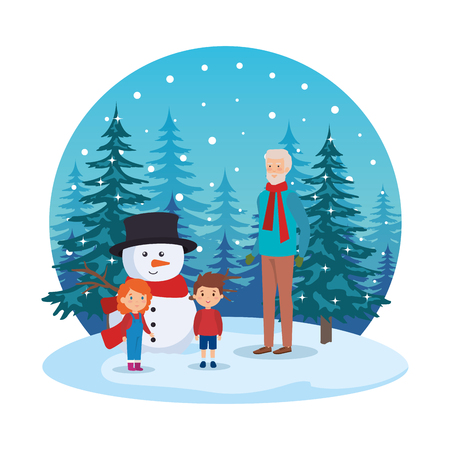 grandfather and kids in snowscape vector illustration design Standard-Bild - 127638641