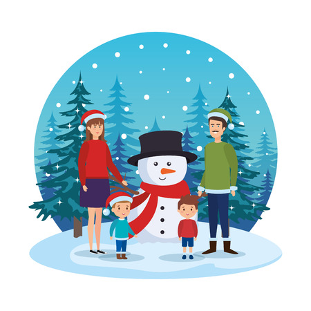 parents couple with kids and snowman in snowscape vector illustration Standard-Bild - 127638644