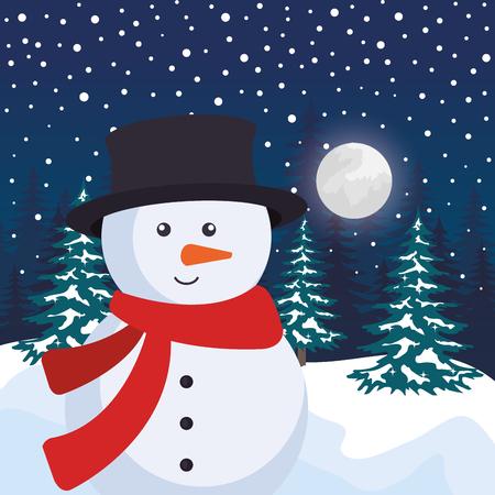 snowscape field with snowman scene vector illustration design