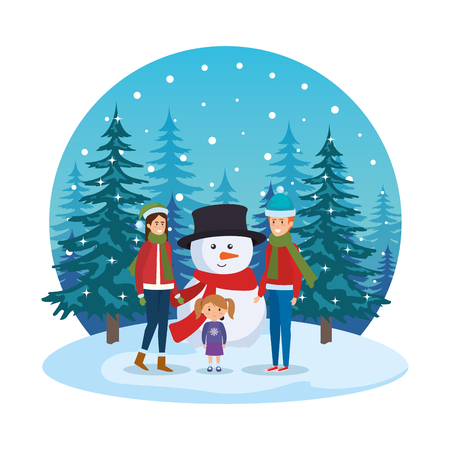 couple with daughter and snowman in snowscape vector illustration Standard-Bild - 127638652