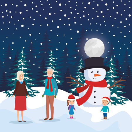 grandparents couple with kids and snowman in snowscape vector design