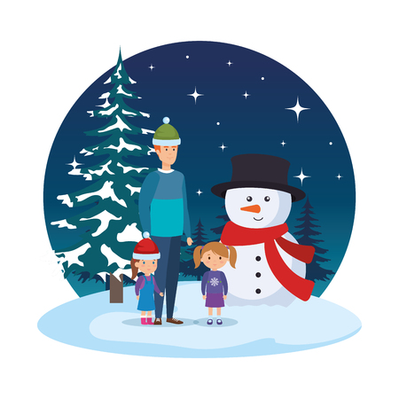 father and kids with christmas clothes in snowscape vector illustration