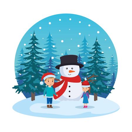 little kids with snowman in snowscape vector illustration design Standard-Bild - 127638657