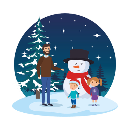 father and kids with christmas clothes in snowscape vector illustration Standard-Bild - 127638663