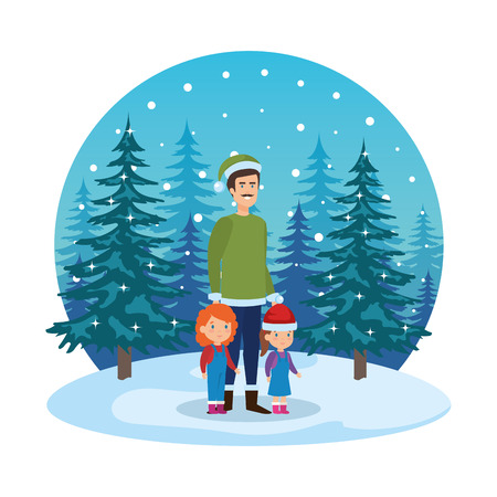 father and kids with christmas clothes in snowscape vector illustration Standard-Bild - 127638666