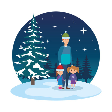 father and kids with christmas clothes in snowscape vector illustration Standard-Bild - 127638667