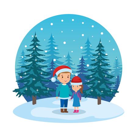 little kids with winter clothes in snowscape vector illustration design Standard-Bild - 127638668