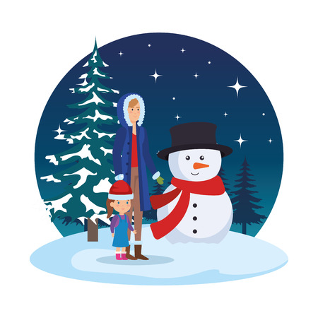 mother and daughter with snowman in snowscape vector illustration Standard-Bild - 127638674