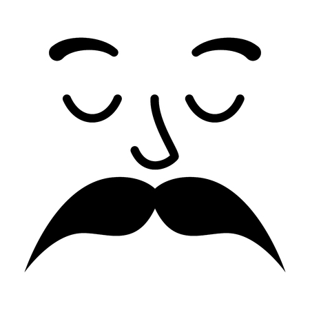 face with mustache style hipster vector illustration design