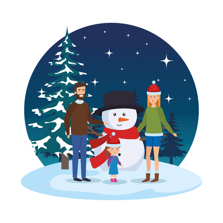 couple with daughter and snowman in snowscape vector illustration Standard-Bild - 127641381