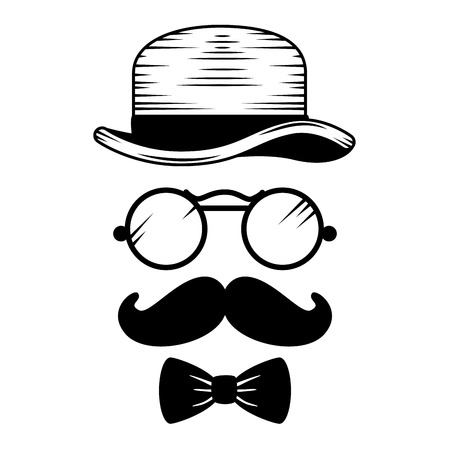 set style hipster accessories icons vector illustration design