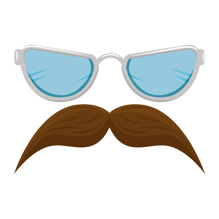 mustache and glasses style hipster accessories vector illustration design