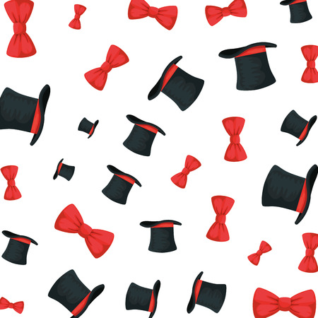 elegant bowties and tophats accessories pattern vector illustration design