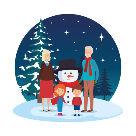 parents couple with kids and snowman in snowscape vector illustration Standard-Bild - 127641420