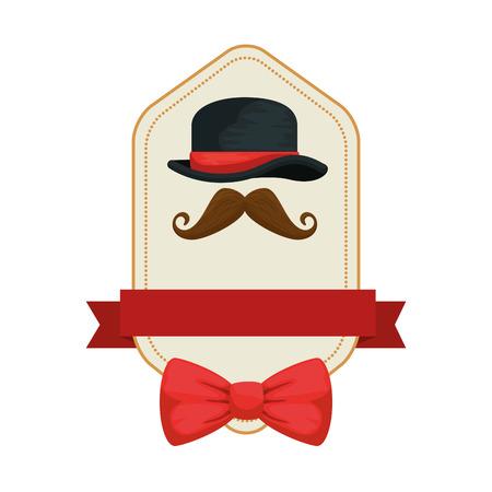 gentleman top hat and mustache frame vector illustration design
