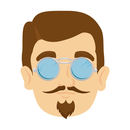 head man hipster with mustache and glasses vector illustration design
