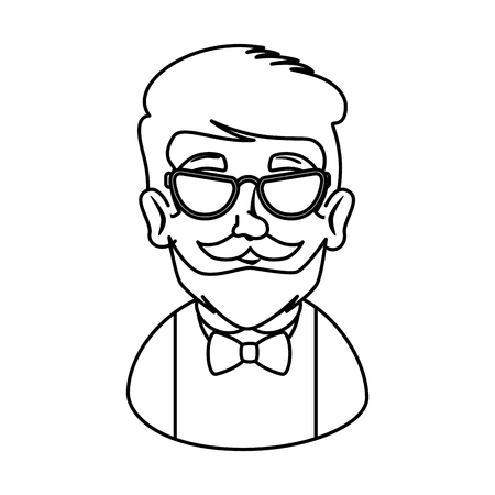 man hipster with mustache and glasses vector illustration design Stock Vector - 112175484