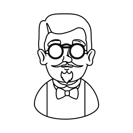 man hipster with mustache and glasses vector illustration design Stock Vector - 112175491