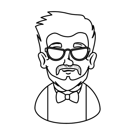 man hipster with mustache and glasses vector illustration design Stock Vector - 112175493