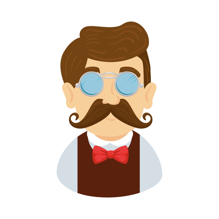 man hipster with mustache and glasses vector illustration design 版權商用圖片 - 127641641