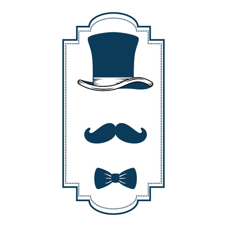 gentleman top hat with ribbon frame vector illustration design