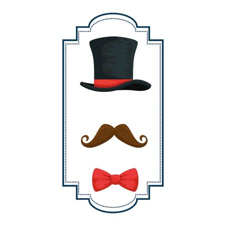 gentleman top hat with ribbon frame vector illustration design