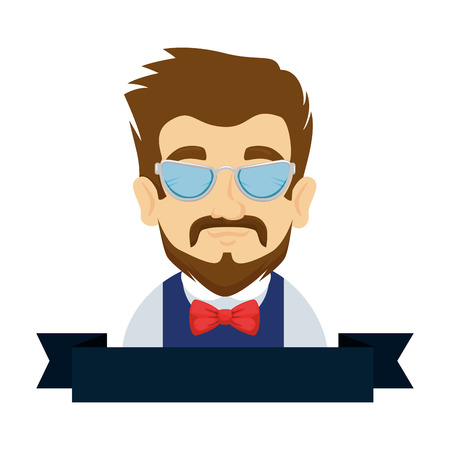 man hipster with mustache and glasses vector illustration design