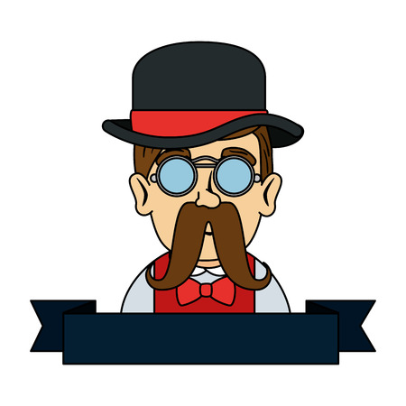 man hipster with mustache and tophat vector illustration design