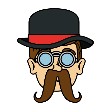 head man hipster with mustache and tophat vector illustration design