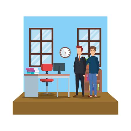 couple of men in the workplace vector illustration design Vector Illustratie