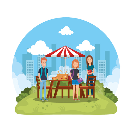 group of people in picnic party vector illustration design
