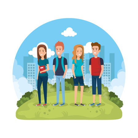 group of people in the park vector illustration design