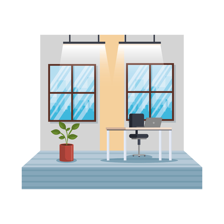 workplace office scene icon vector illustration design