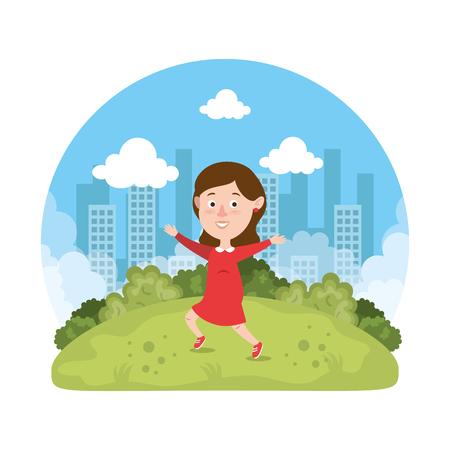beautiful little girl playing on the park vector illustration design Reklamní fotografie - 112179925