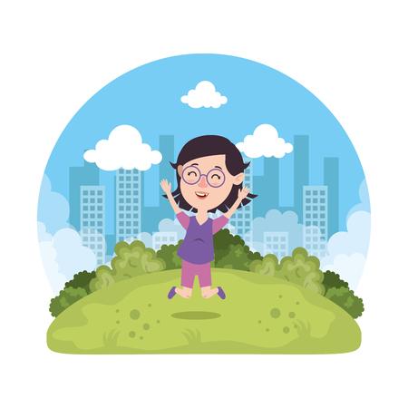 beautiful little girl playing on the park vector illustration design Illusztráció