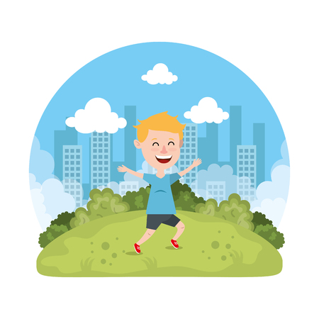 cute little boy playing on the park vector illustration design Reklamní fotografie - 127641758