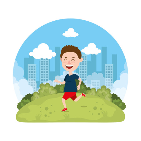 cute little boy playing on the park vector illustration design