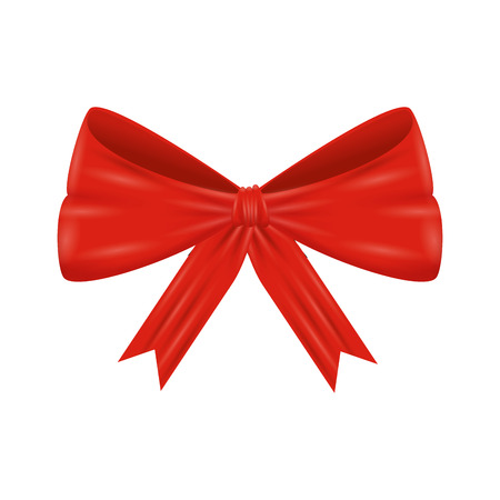 red bow ribbon tape decorative vector illustration design Vectores