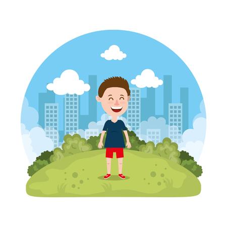 cute little boy playing on the park vector illustration design Reklamní fotografie - 127641782
