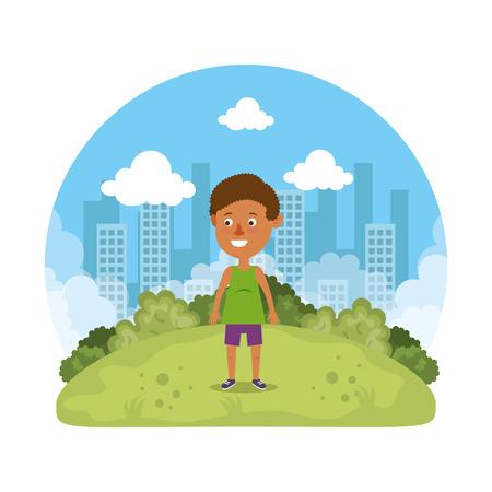 cute little boy playing on the park vector illustration design Reklamní fotografie - 127641783