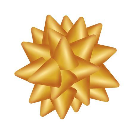 golden bow ribbon tape decorative vector illustration design Archivio Fotografico - 127641788